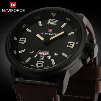 Новинка 2015, брендовые мужские спортивные кварцевые часы в стиле милитари с кожаным ремешком, армейские водонепроницаемые наручные часы с отображением часов и даты