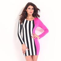 Brand Dress New Women Celeb Monochrome Black White Striped Celebrity Optical Illusion Party Bodycon Mini Dresses