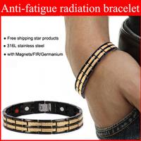 "2014 Fashion Jewelry Men or Women Bracelet 316L Healing Magnetic Stainless Steel Bracelet With Christmas Gift 8.5"" OSB-689BG"