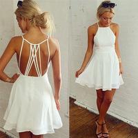 014 Explosion models of women's fashion sexy backless hollow Chiffon Dress bandage mini bodycon dress frozen dress elsa dress