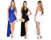 vestido de festa longo Asymmetrical White Blue Black V Neck Draped Side Sexy Long Maxi Dress evening gowns china LC6752