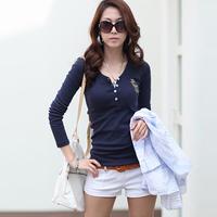 2014 plus size clothing V-neck slim top basic shirt hot-selling 100% cotton long-sleeve T-shirt basic shirt female top