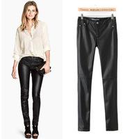 roupas femininas 2014 New winter hight waist PU leather women pants soild color Silm casual trousers