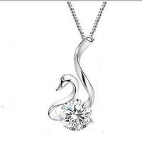 Free shipping Top Quality Plating S925 Silver Zirconia Diamond Elegant Swan Silver Neckalce Nickel free