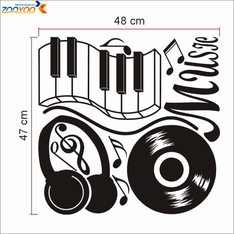 headset popular music sticker ZooYoo8323 vinyl wall decal home interior decor wall art 3d room decor creative boy design(China (Mainland))