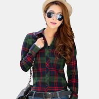 Big yards  Women  Long sleeve  Grid  women shirt  2014 autumn and winter  The new  Free shipping  women shirts  Girls blouses
