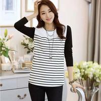 2014 autumn plus size navy style stripe shirt women's long-sleeve t-shirt basic shirt