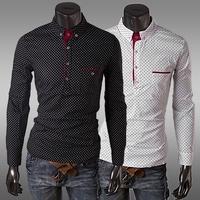 Free Shipping Rsan Vintage Polka Dots Long Sleeve Shirts For Men