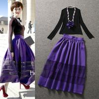 Celebrity High Street Clothing Set Women's Black Long Sleeves Sheath Sweatshirts + Purple Lace Patchwork Maxi Skirt Twinset