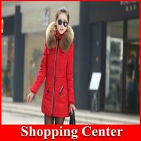 Freeshipping New 2014 Fashion Winter Outerwear Coats Women Large Fur Collar Long Jackets Women's Thicken Down Parka Plus Size