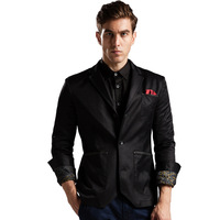 2015 Fall Men's Casual Slimfit denim jacket coat jacket men's suits men suits petite black clothing Freeshipping