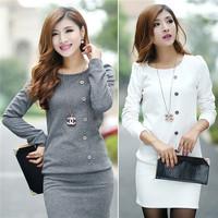 2014 Fall Hot New Korea Fashion Women Dress Package Hip Slim Round Neck Long-Sleeved Knitting Dress
