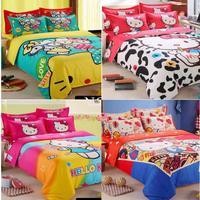 hello kitty kids bedding set queen size cartoon bed set twin size bedsheet bedclothes cute duvet cover set  bed linen #80