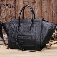 2014 women's genuine leather handbag oversized bags fashion for Crocodile bag handbag smiley bag