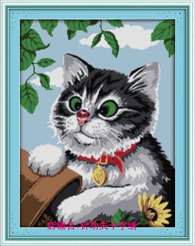 precise printed canvas cross stitch kit cartoon animal cat painting embroidery pattern 11ct dmc diy needlework set unfinished(China (Mainland))