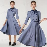 Wholesale fashion 2014 autumn winter thicken casual dresses women preppy style maxi long sleeve vintage dresses work wear