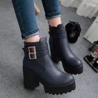 Martin boots female fashion vintage high-heeled boots spring and autumn fashion side zipper boots fashion single boots short