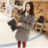 Korea purchasing fall/winter New England worsted woolen cloth coat small suit women Plaid wool coat slim