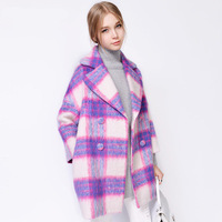 2014 Winter Plaid coat in new Europe lapel wool coat long wool coat women
