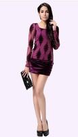 Fall 2014 new European and American women's gauze velvet long-sleeved Slim thin package hip dress winter dress  free shipping