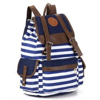 New striped backpacks,casual girls' canvas travel school bags