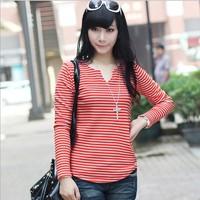 2014 women's thickening fleece V-neck stripe t-shirt fashion slim shirt basic shirt female top