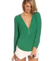 2014 New Fashion Women Chiffon Blouses Autumn Female Sexy Deep V-neck Top Blusas Long-sleeve Zipper Chiffon Shirts Plus Size XXL