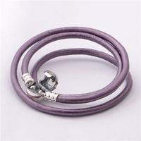 bracelet silver 925 sterling bracelests for women round violet genuine leather bracelet men PL303-62