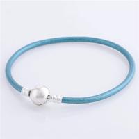 bracelet silver 925 sterling bracelests for women cyan genuine leather bracelet men PL306