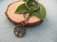 2pcs/lot Wholesale tree of life wish tree key ring Fashion Jewelry antique jewelry steampunk gift