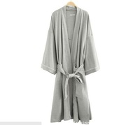 Free Shipping 2014  Top Sales  Man Good Quality 100% Soft Cotton Waffle SPA Bath Robe With Good Edge ,4 Colors