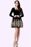 2014 fall new autumn dress  gold velvet long-sleeved round neck Slim temperament gold thread embroidery lace dress free shipping