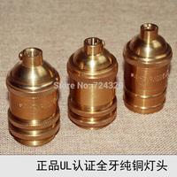 Edison Vintage lamp bases E26E27 UL copper golden bulb bases retro no switch pendant lamp holders 12PCS free by FEDEX