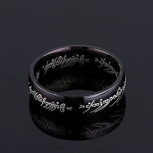2014 Fashion Jewelry Wholesale Black Supreme LOTR Men 's Titanium Steel Ring Black Free Shopping(China (Mainland))
