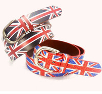 Cheap Fashion Pin Buckle PU Leather Women Belts Faux Leather Flag Printed Ladies Belts