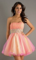 Multiple Color Accented Strapless Cascading Ruffle Mini Rhinestone Embellished Back Zipper Organza Party Dresses with Sash