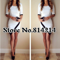 014 Explosion splicing sexy irregular dress pencil vest dress OM236 bandage mini bodycon dress frozen dress elsa dress