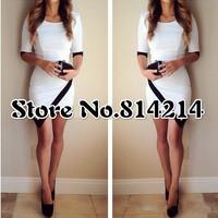 014 Explosion splicing sexy irregular dress pencil vest dress OM236 bandage mini bodycon dress frozen dress elsa dress