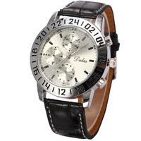 Sub-Dial Decoration Men Fahion Casual Wristwatch Pu Leather Strap MIlitary Quartz Watch  Alloy Case Montre Homme Men Sport Watch