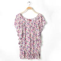 2014 Female Summer Sweet Short Sleeve Chiffon Print Casual Juniors Women Clothing Dress