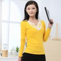 2014 New V-neck lace t-shirt o-neck long-sleeve women's fashion basic shirt Tops