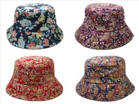 New 2014 style bucket hat floral men and women summer boonie hats fashion brand fishing cap basketball cap in red blue purple