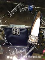square rhinestone decoration 2014 autumn/winter black rectangular handbag