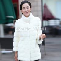 2014 women's winter coat fur mandarin collar coat long paragraph 7 points sleeve rabbit fur coat long outwear free shipping