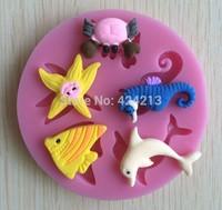 Deep Sea Animal mold mould,silicone cake tools fondant cake design mold,silicone gumpaste art mold,baking tools-P057
