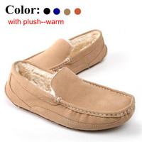 2014 Men warm snow shoes Suede Cotton Fur Men Shoes Fashion Winter soft Breathable Men gommini  Loafers Sneaker Flats