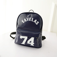 Favelas 74 Backpack French Brand bags PU Leather Blue Black Color Women Men bags 2015 Fashion School high street bag Backpack