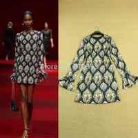 High Street New Year 2015 Fashion Elegant Slim Diamond Printed Long-Sleeve Flare Sleeve Spring Autumn Casual Dresses Women
