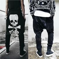 2014 Skull harem pants male big crotch harem  hanging crotch trousers male hip-hop hiphop jeans health pants