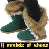 2015 Autumn New Arrival Round Toe Rubber Soles Boots Warm Long Faux Fur Shoes Fashion Flat Women Snow Boots